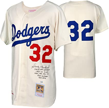 ... sale sandy koufax los angeles dodgers autographed mitchell and ness  1963 white authentic jersey with multiple b2e2c33a065