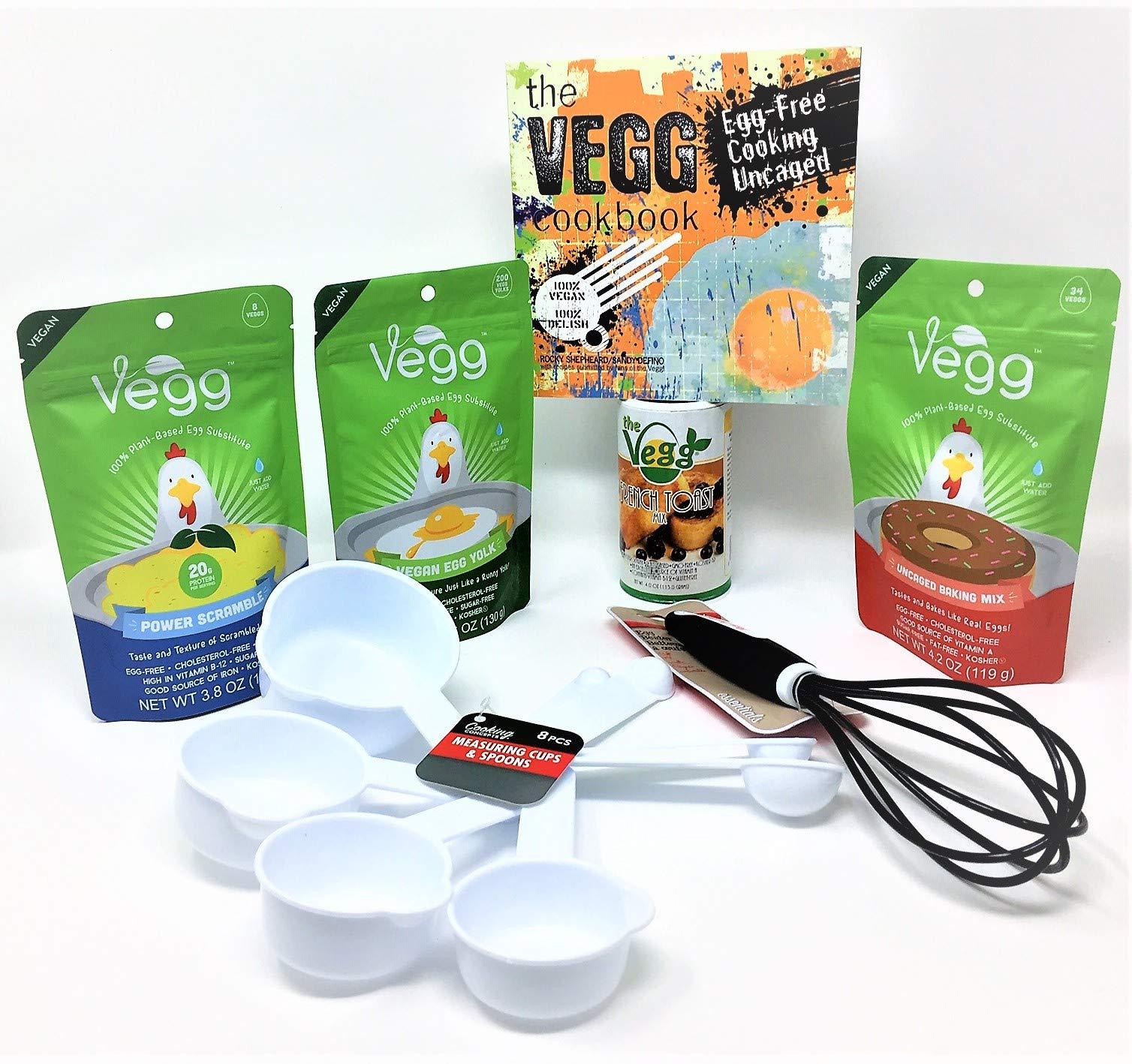 The Vegg Vegan Mega Pack Vegan Egg Yolk + Power Scramble + French Toast Mix + Uncaged Baking Mix + Egg Wisk + Measuring Cups and Spoons + The Vegg Cookbook