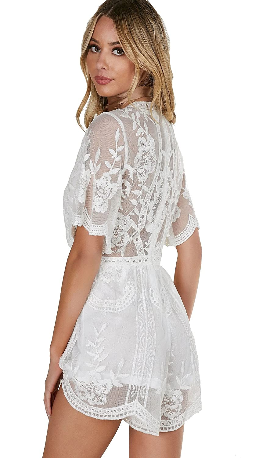 ebddcd372059 Amazon.com  Honey Punch Antique Embroidered Crochet Deep V Neck Romper  White Lace  Clothing
