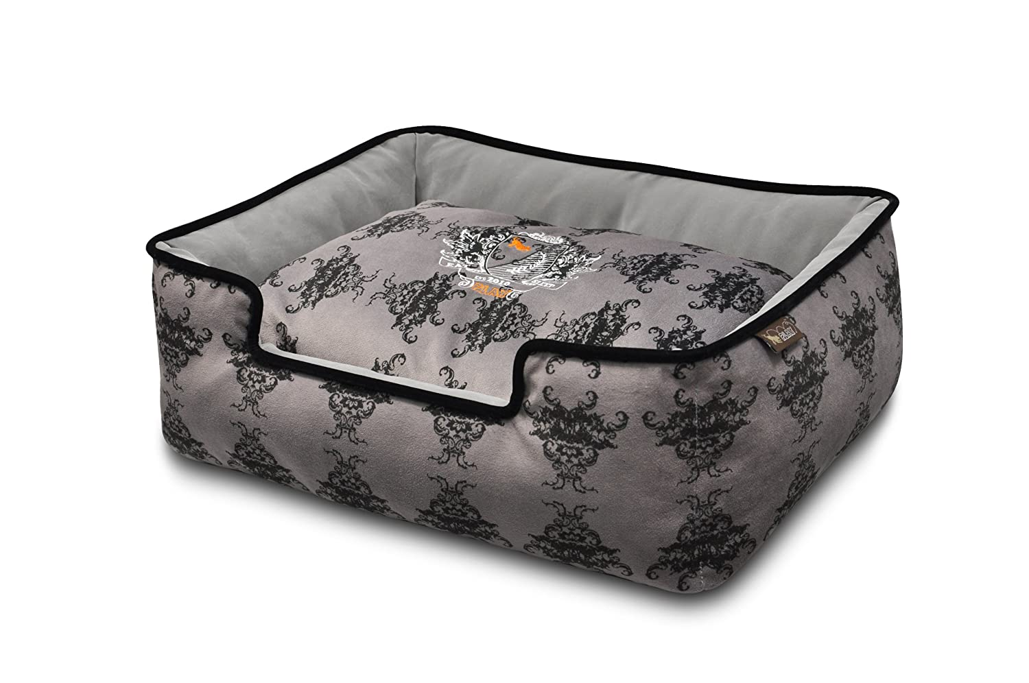 Royal crest black Medium Royal crest black Medium P.L.A.Y. 817152012030 Pet Lifestyle and You Royal Crest Black Lounge Bed, Medium