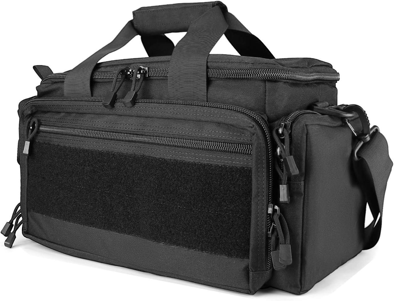 Polaland Tactical Gun Range Bag Pistol Shooting Duffle Bag, Deluxe Padded Shooting Range Bag Large Handguns Magazine Ammo Gear Accessories Pouch for Hunting Shooting Range Sport
