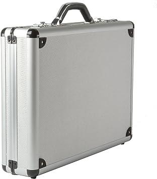 "Aluminum Briefcase Laptop Attache Hard Metal Case Lock Padded 17/"" Professional S"