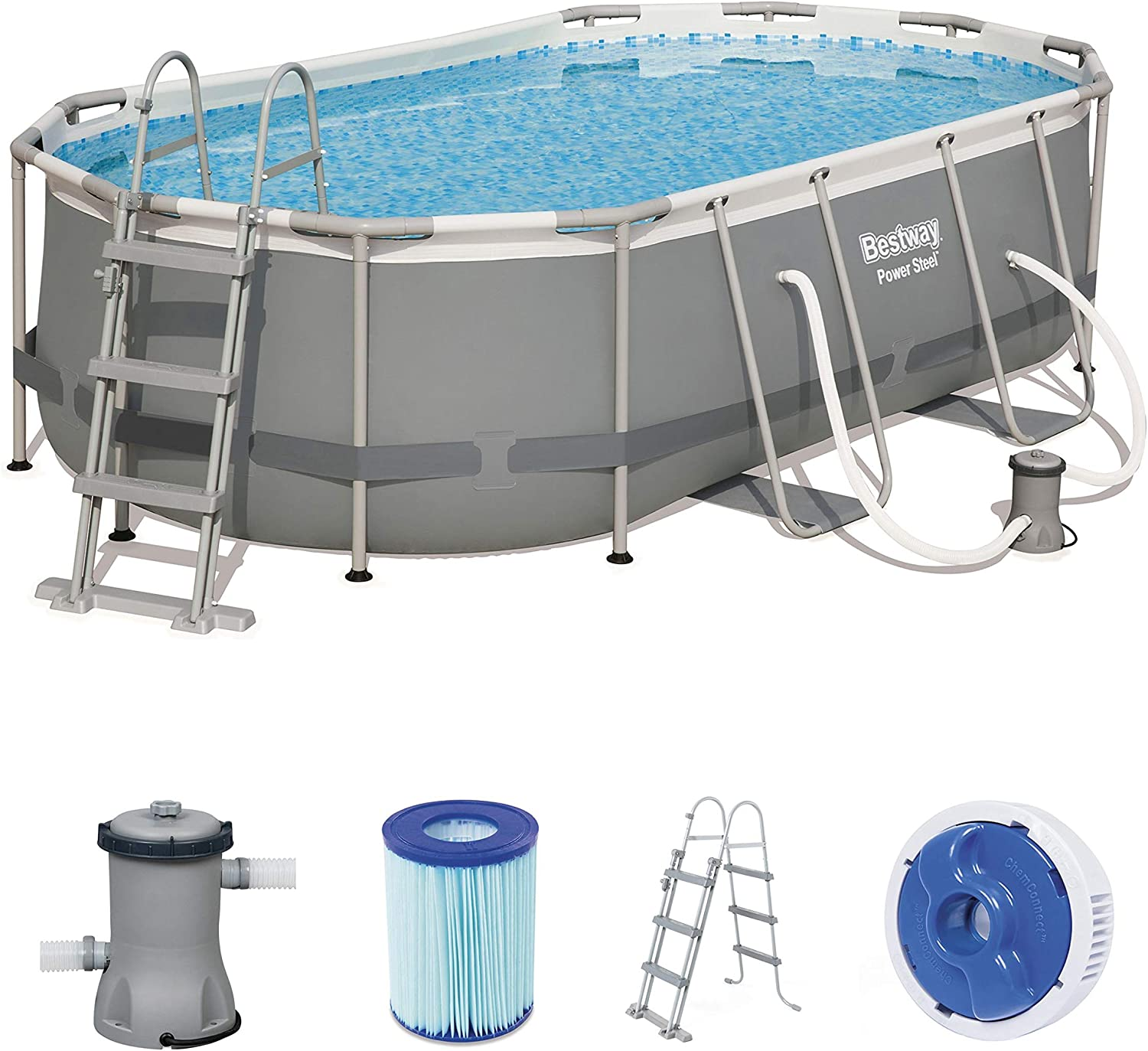 Bestway 56620 Power Steel Pool 424 X 250 X 100 CM, Ovalado Marco ...