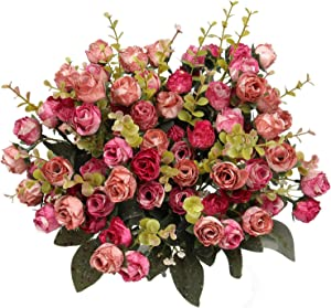 Flojery 21 Heads Silk Rose Bouquet Artificial Flowers Mini Rose for DIY Wedding Bouquets Centerpieces Bridal Shower Party Home Decorations,Pack of 4 (Rose Red)