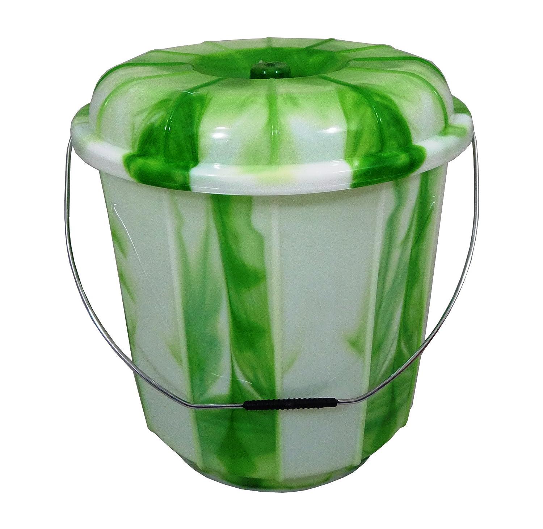 High Quality Green 7 Ltr Medium Thai Dye Design Plastic Bucket with Lid