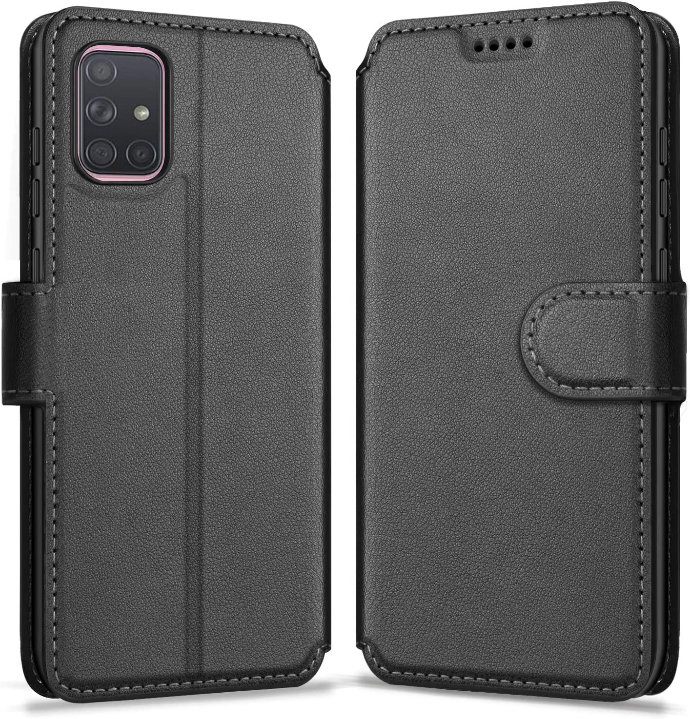 ykooe Phone Case Compatible with Samsung Galaxy A71 (4G Version), PU Leather Protective Phone Cover for Samsung Galaxy A71 Flip Case, Black