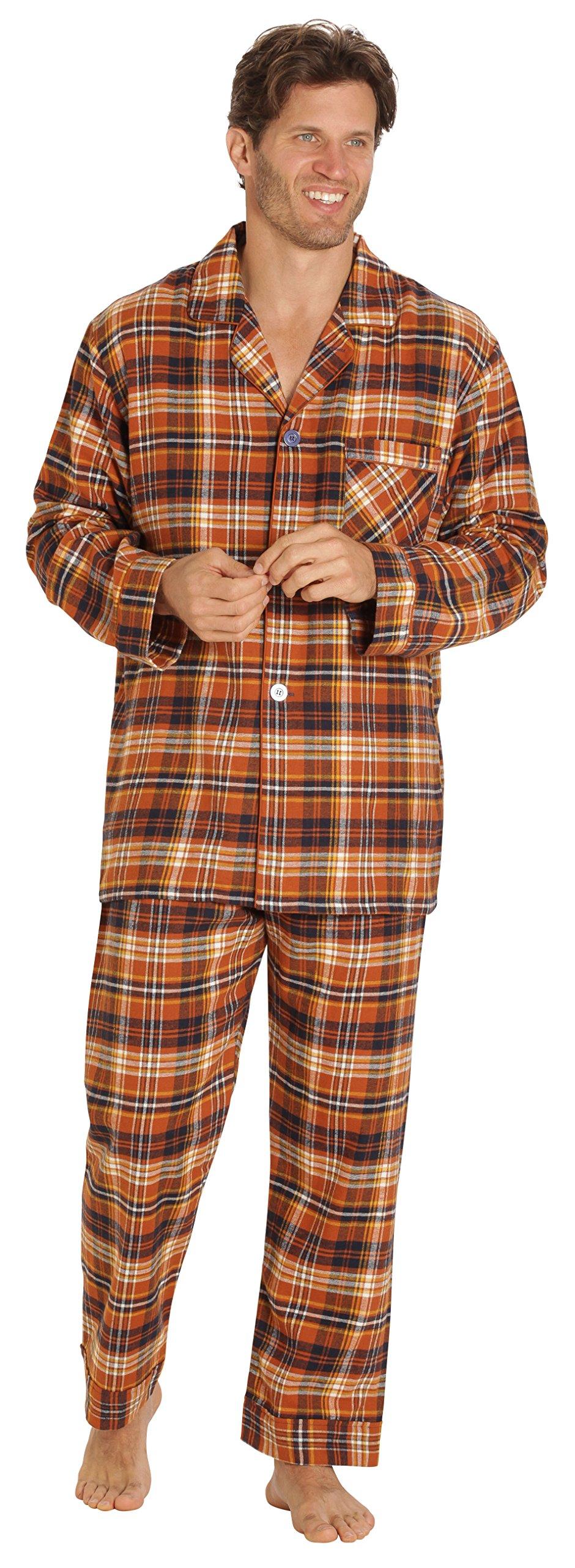 EVERDREAM Sleepwear Mens Flannel Pajamas, Long 100% Cotton Pj Set, Size Small Brown Rust