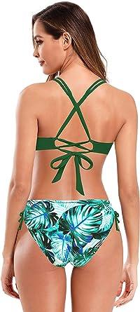 SHEKINI Damen Zweiteiliger Bikini mit Gebl/ümten R/üschen U Ausschnitt R/ückenfrei Bikini Set Schwarz Urlaub Gef/ütterte Strandmode