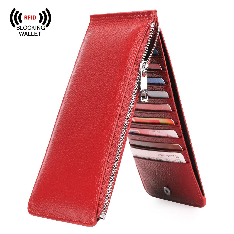 On Sale - S-ZONE Women's RFID Blocking Genuine Leather Multi Card Holder Organizer Wallet with Zipper Pocket (Red)