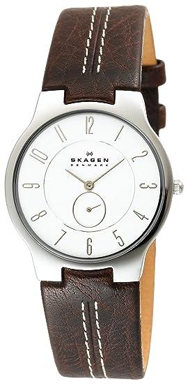 Skagen Slimline 433LSL1 - Reloj de caballero de cuarzo, correa de piel color marrón