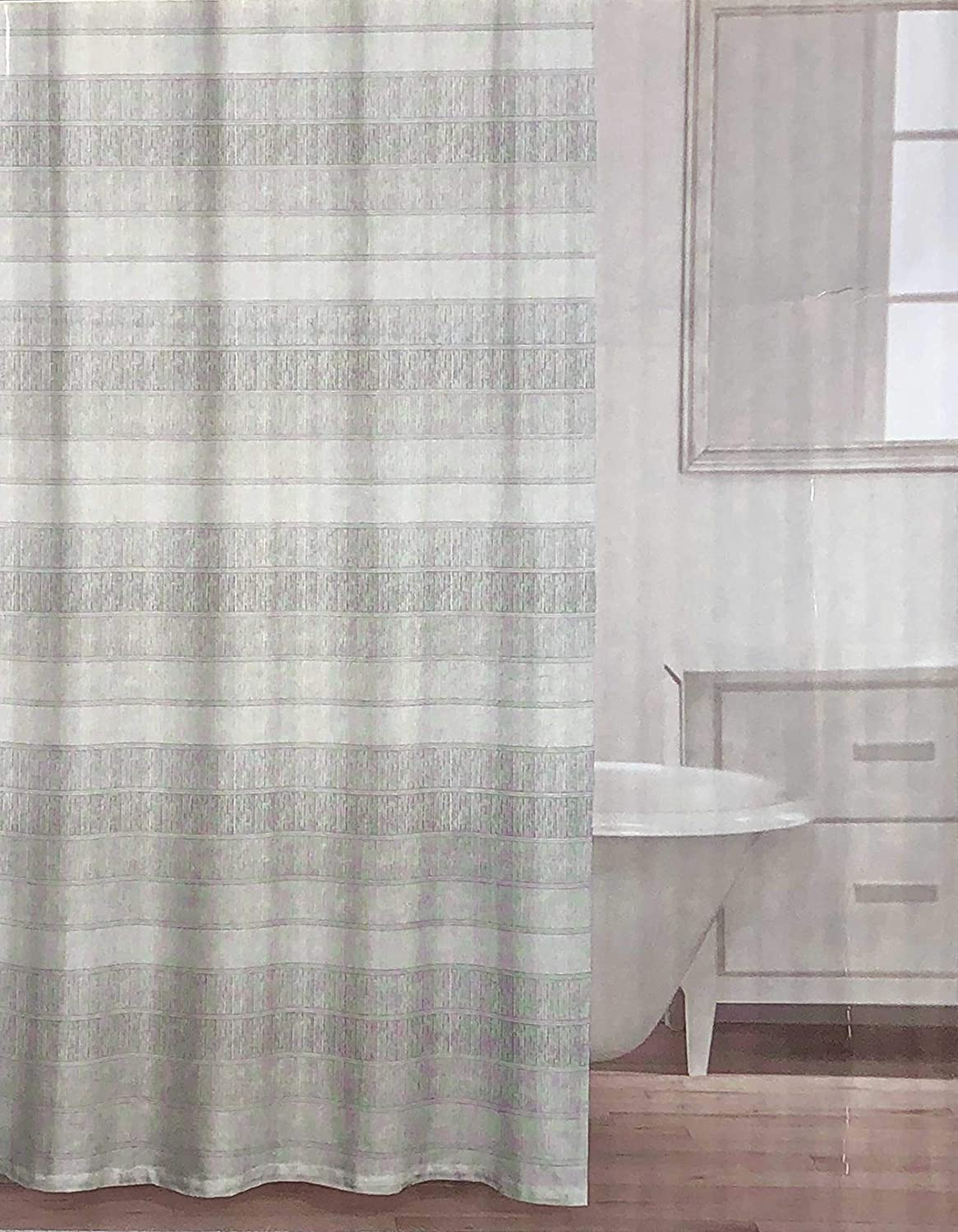 Caro Fabric Shower Curtain Wide Tan Taupe Beige Stripes with Thinner Silver Stripes - Arianna, Grey