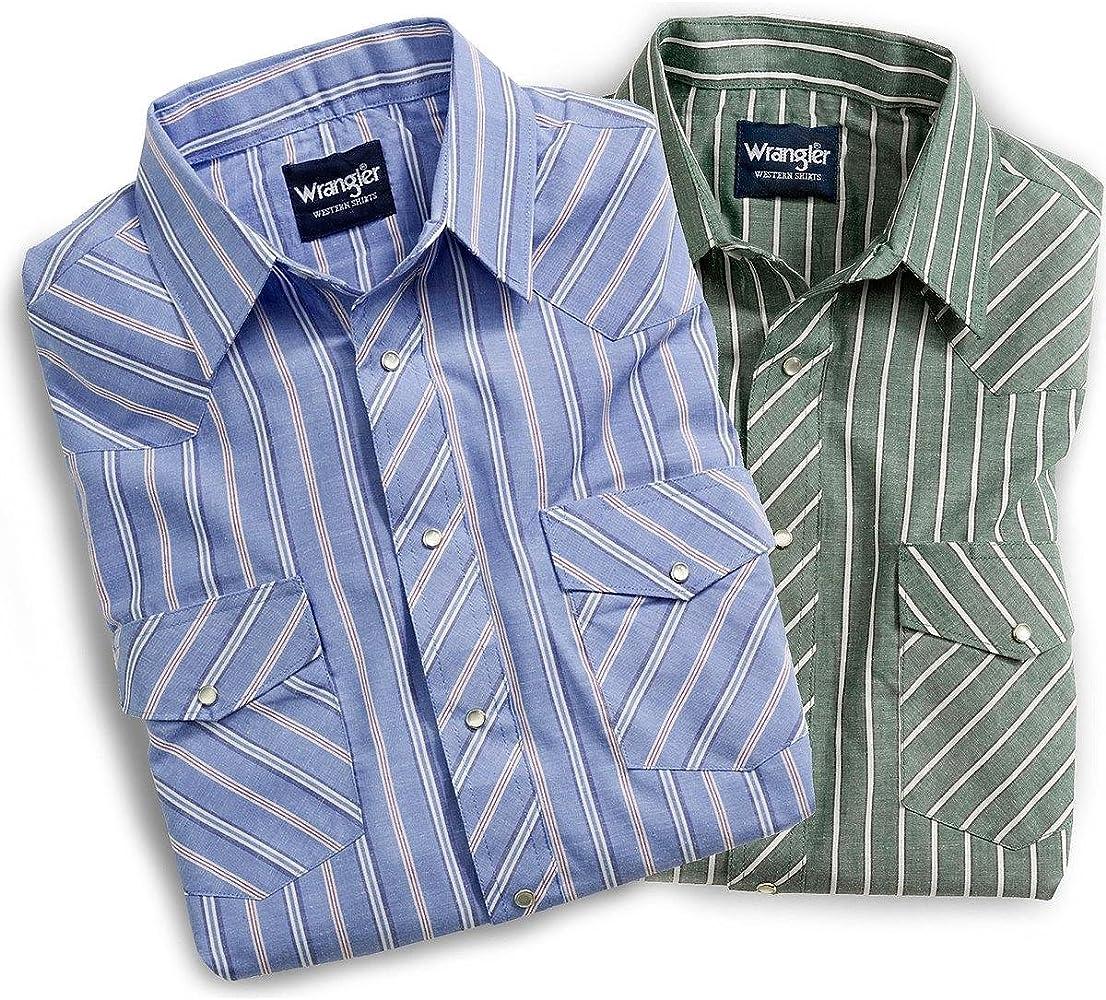 Wrangler Mens Short Sleeve Assorted Western Shirts Plaid Medium