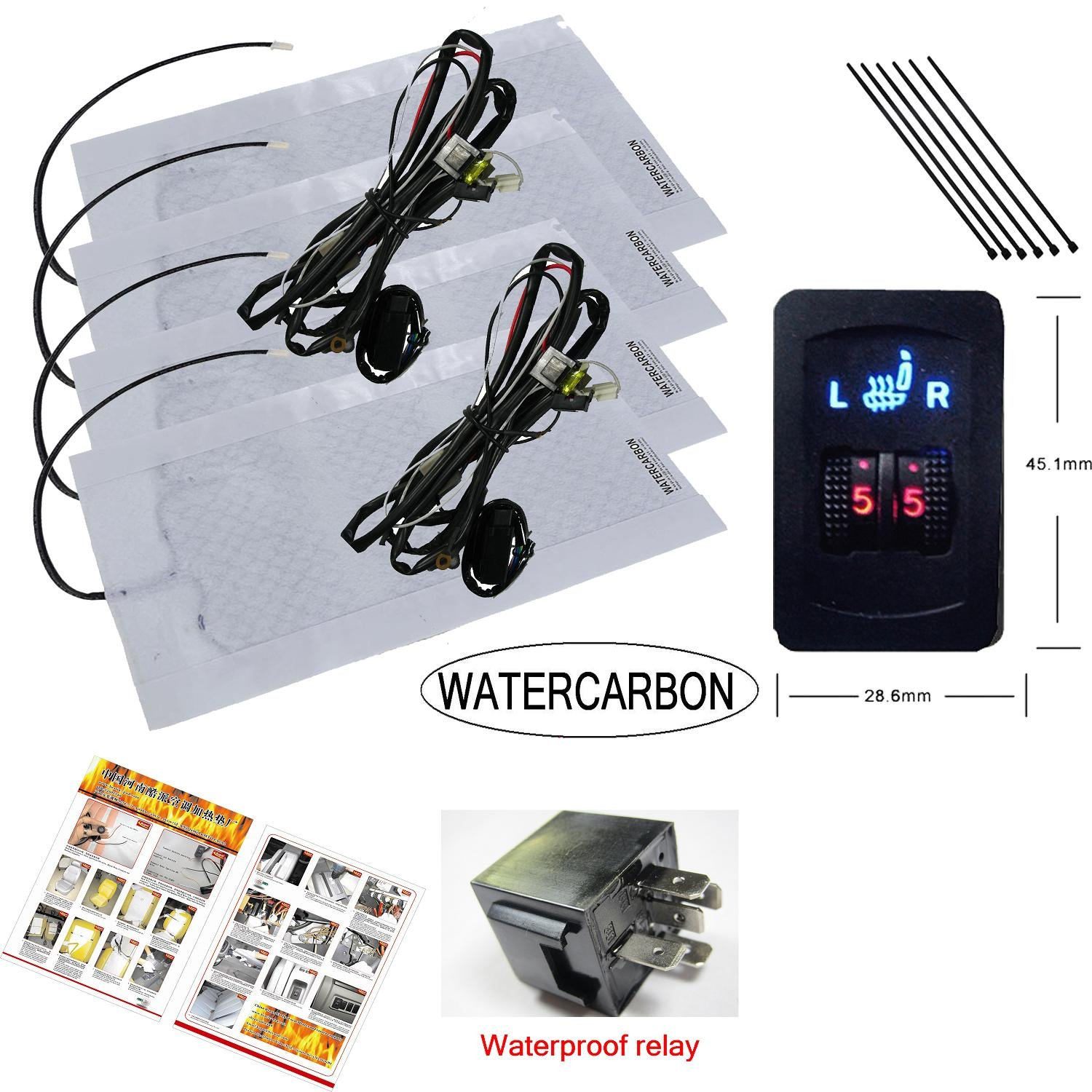 Water Carbon Premium Heated Seat Kits For Two Seats 5 2009 Mazda Fuse Box Dial Setting Kit Electronics