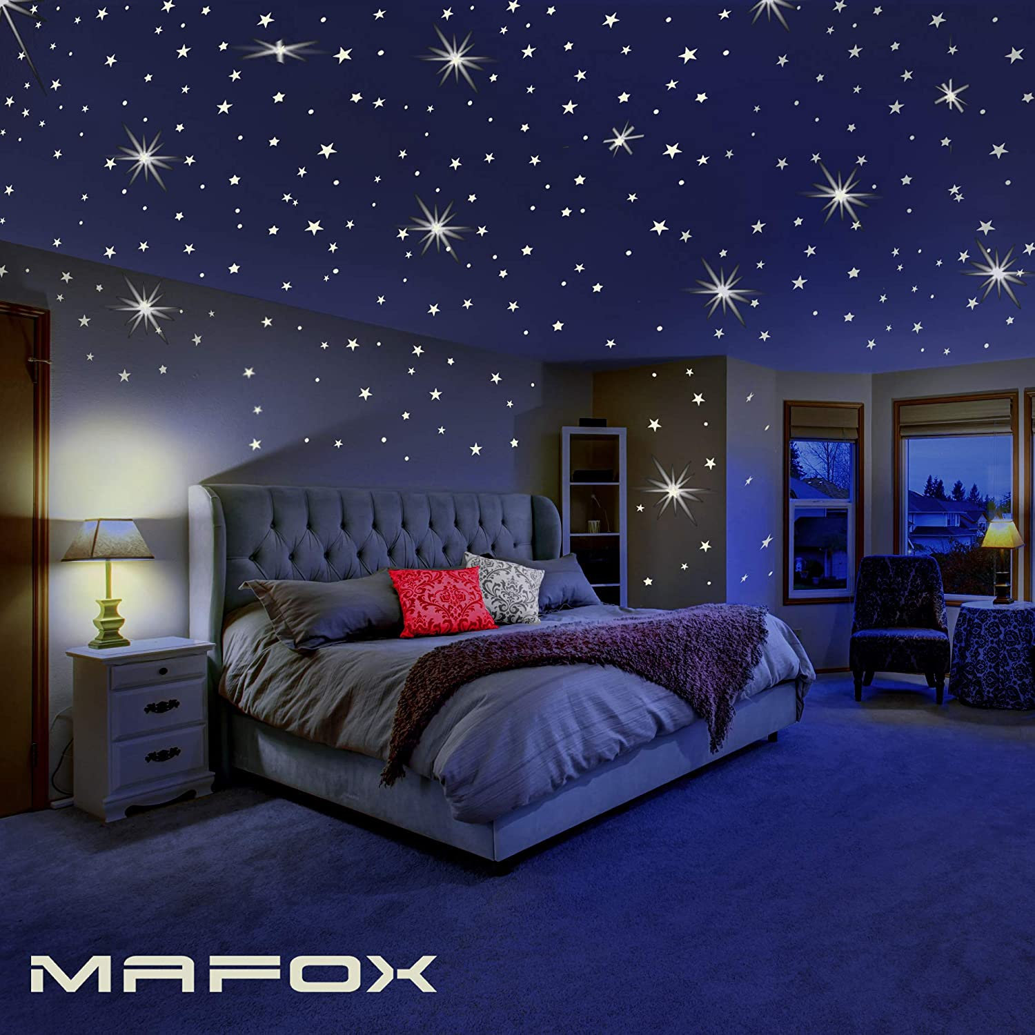 Glow in The Dark Stars for Ceiling or Wall Stickers - Glowing Wall Decals  Stickers Room Decor Kit - Galaxy Glow Star Set and Solar System Decal for  ...
