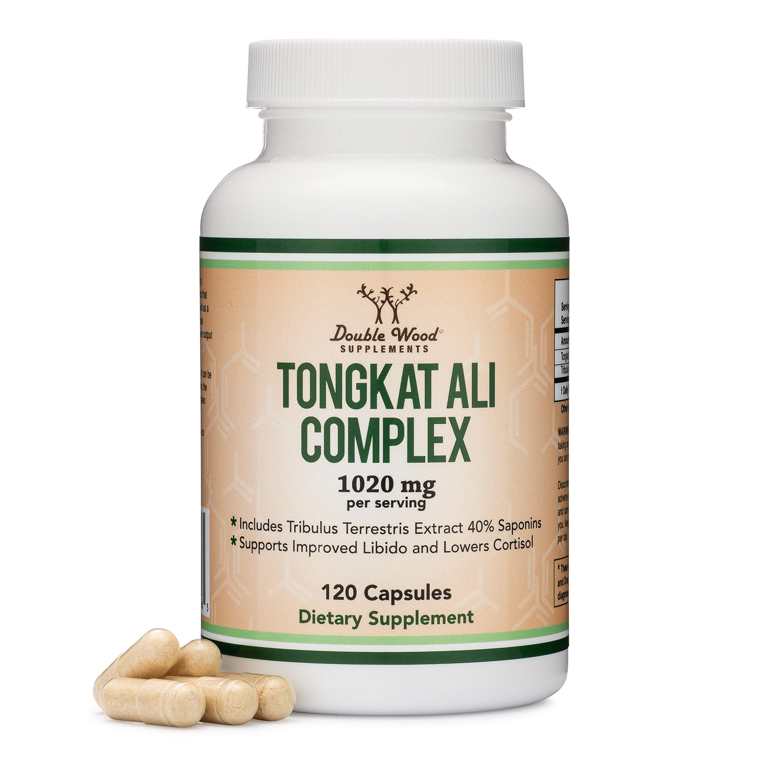 Tongkat Ali Extract 200 to 1 (Longjack) Eurycoma Longifolia, 1000mg per Serving, 120 Capsules - Natural Testosterone Supplement and Libido Booster, with 20mg Tribulus Terrestris by Double Wood by Double Wood Supplements