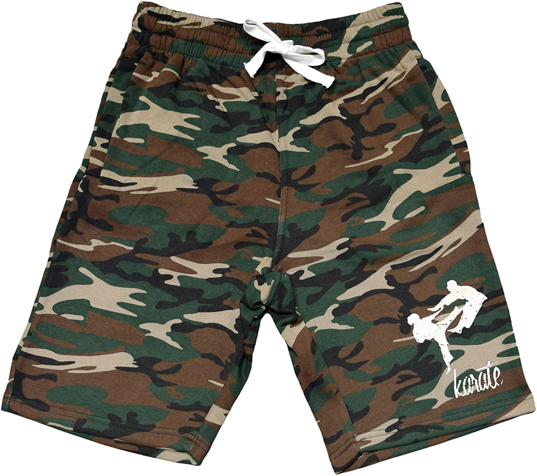 Interstate Apparel Mens MMA Karate Emblem Camo Fleece Jogger Sweatpant Gym Shorts
