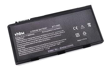 Batería Li-Ion vhbw 6600mAh (11.1V) Negra para Ordenador portátil Medion Erazer MD97746, MD97747, MD97748, MD97761, MD97762, MD97779 como BTY-M6D.