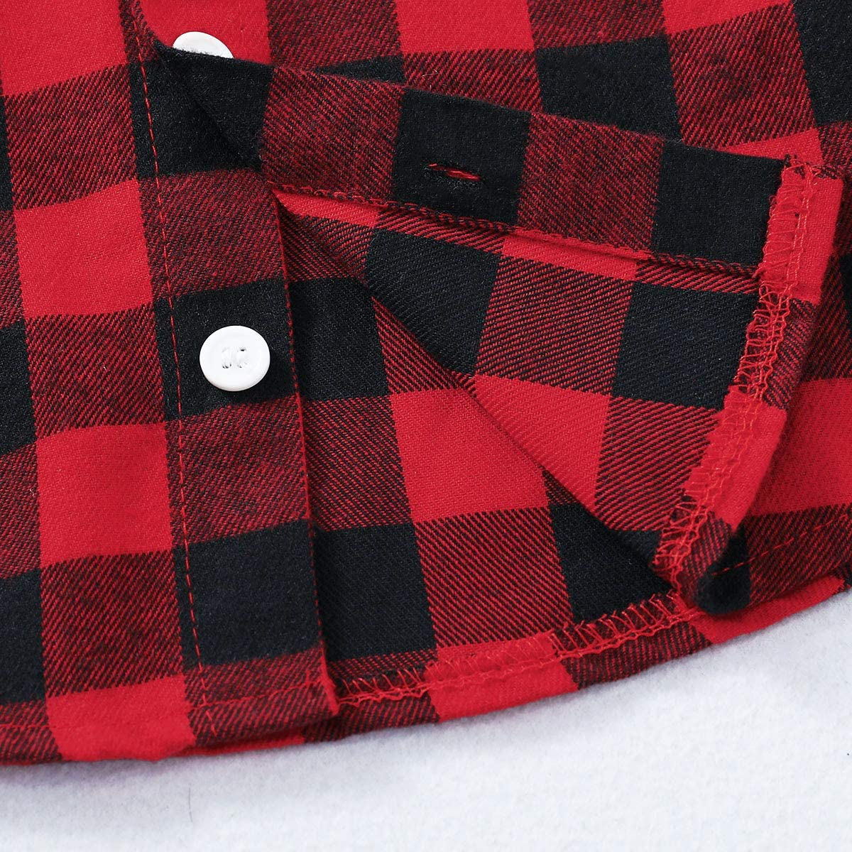 2Pcs Baby Boys Girls Toddler Infant Red Plaid Flannel Shirt Elastic Waist Ripped Holes Soft Jeans Outfit Set