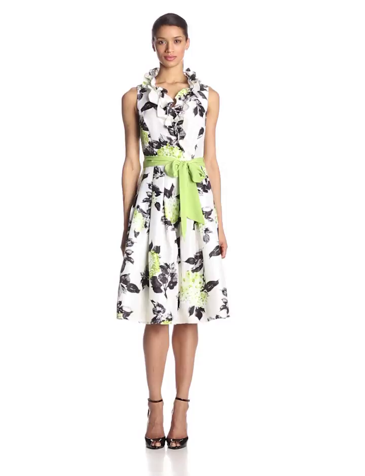 Jessica Howard Women's Petite Sleeveless Ruffle Neck Wrap Dress with Tie Sash