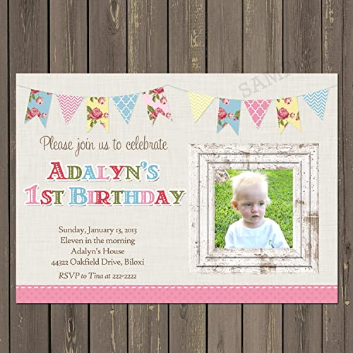 Amazon shabby chic bunting girls 1st birthday party invitation shabby chic bunting girls 1st birthday party invitation linen and floral birthday invitation filmwisefo