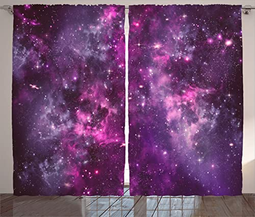 Ambesonne Purple Curtains, Nebula Gas Cloud Deep Dark in Outer Space with Star Clusters Galaxy Infinity Solar Sky, Living Room Bedroom Window Drapes 2 Panel Set, 108 X 84 , Purple