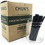 Paper Cocktail Straws 5 inch - 500 ct. Biodegradable Short Black Paper Drinking Straws Bulk, FSC certified, Food grade…