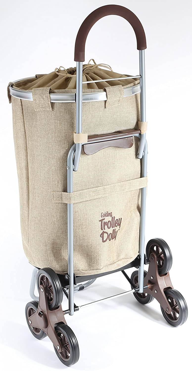 Amazon.com: Dbest Products Stair Climber Laundry Trolley Dolly, Beige  Laundry Bag Hamper Basket Cart With Wheels Sorter: Home U0026 Kitchen
