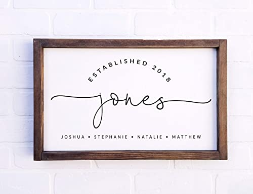 Farmhouse Sign Last Name Sign Rustic Wedding Sign ESTABLISHED Sign Eloped Engagement Sign Family Name Sign Personalized Sign