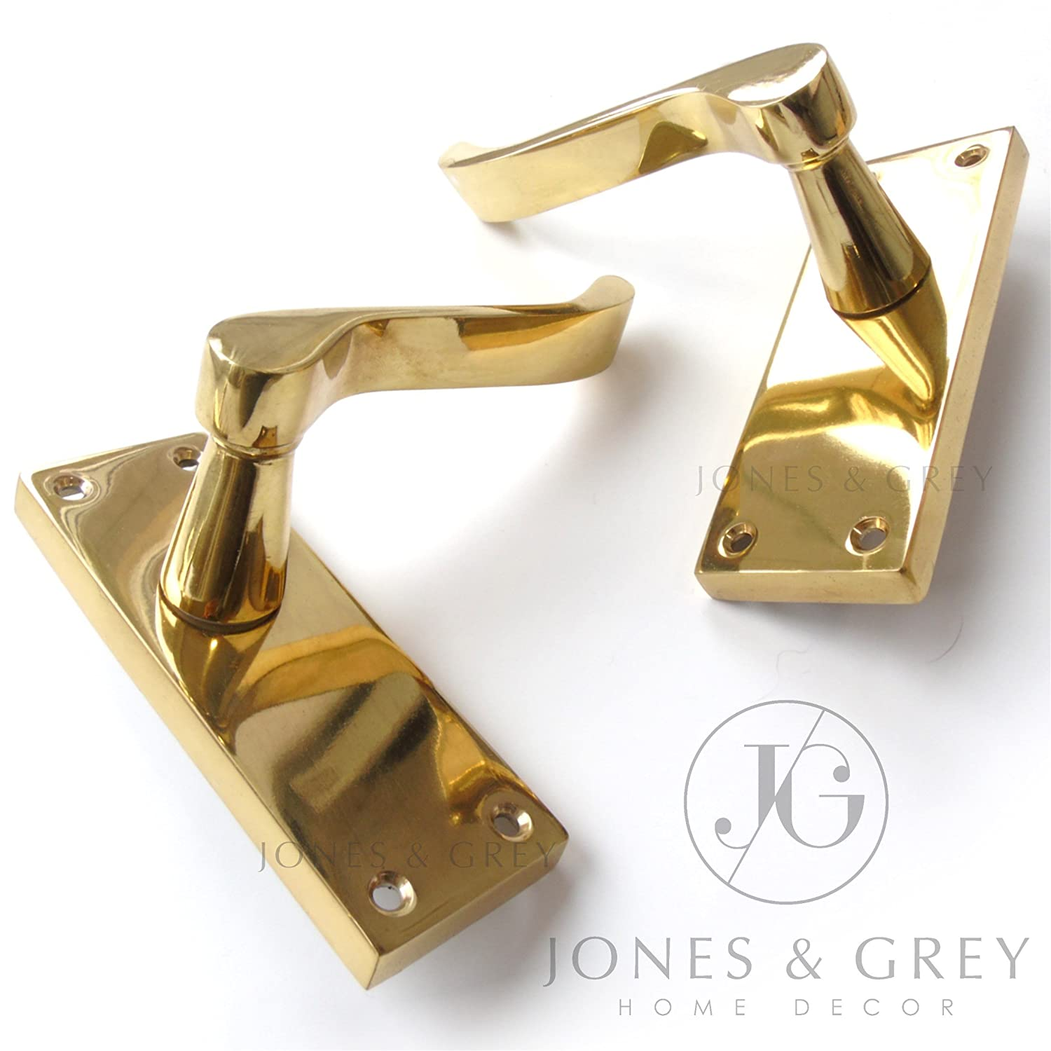 PAIR OF POLISHED BRASS VICTORIAN SCROLL LEVER LATCH DOOR HANDLES ON BACK PLATE Jones & Grey