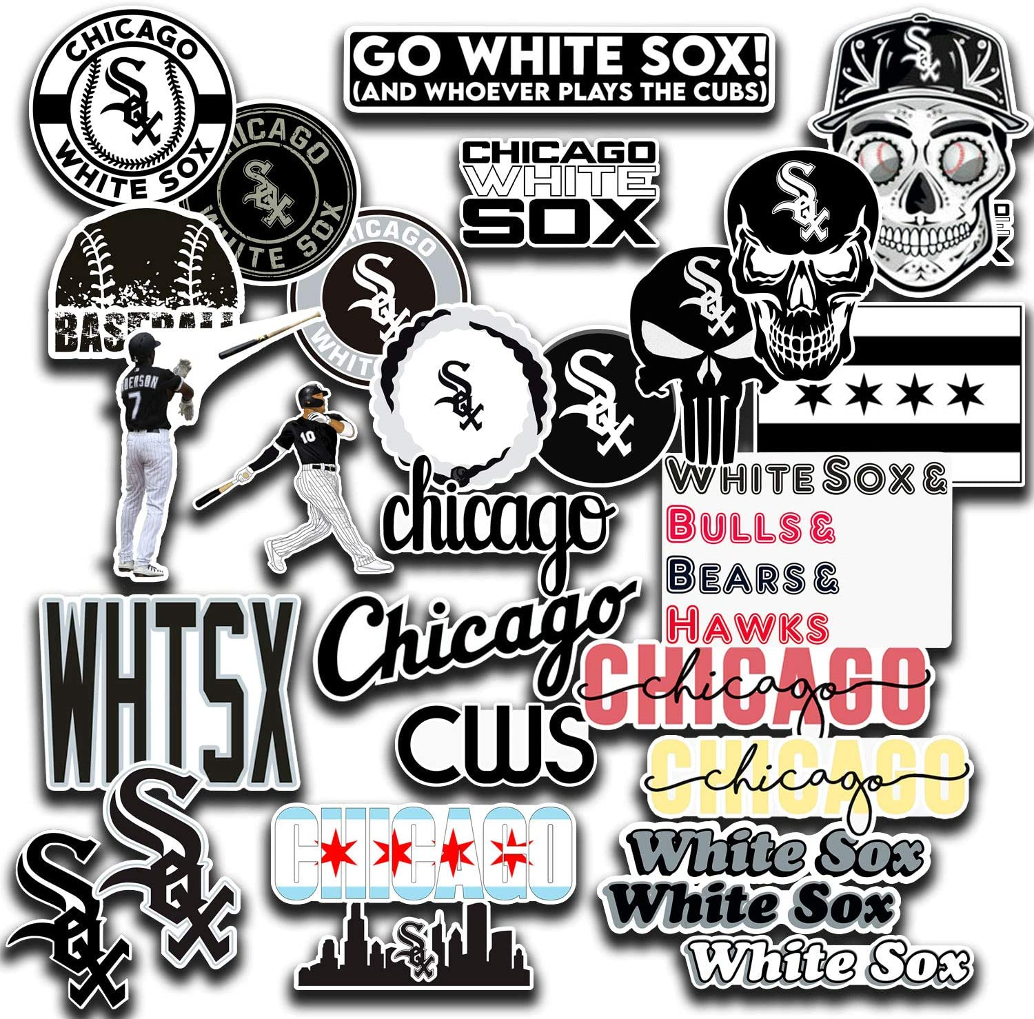 Stickers Pack Chicago Vinyl White Decal Sox Aesthetic Stickers Pack of 29 pcs