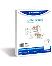 PrintWorks Heavyweight Perforated Cardstock for Raffle Tickets, Coupons, and More, Tear-Away Stubs, 8.5 x 11, 67 lb, 8 Tickets Per Sheet, 250 Sheets, 2000 Tickets Total, White (04296) (2.125 x 5.5)