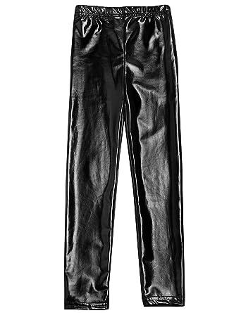35f1a1621b7df Arshiner Little Girls' Metallic Color Shiny Stretch Leggings 100 Black