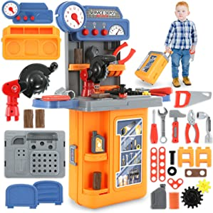 4 in 1 Kids Tool Bench Set, Toddler Workbench Toy, Engineer Pretend Play with Transformable Travel Case Tool Set, Children Tools Kit, Construction Mechanic Tool Set for Boys & Girls