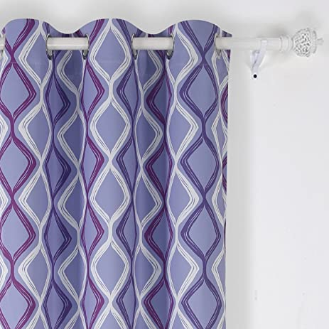 Deconovo Trellis Printed Blackout Curtains Purple Curtains Light Blocking  Curtains For Living Room 42W X 63L