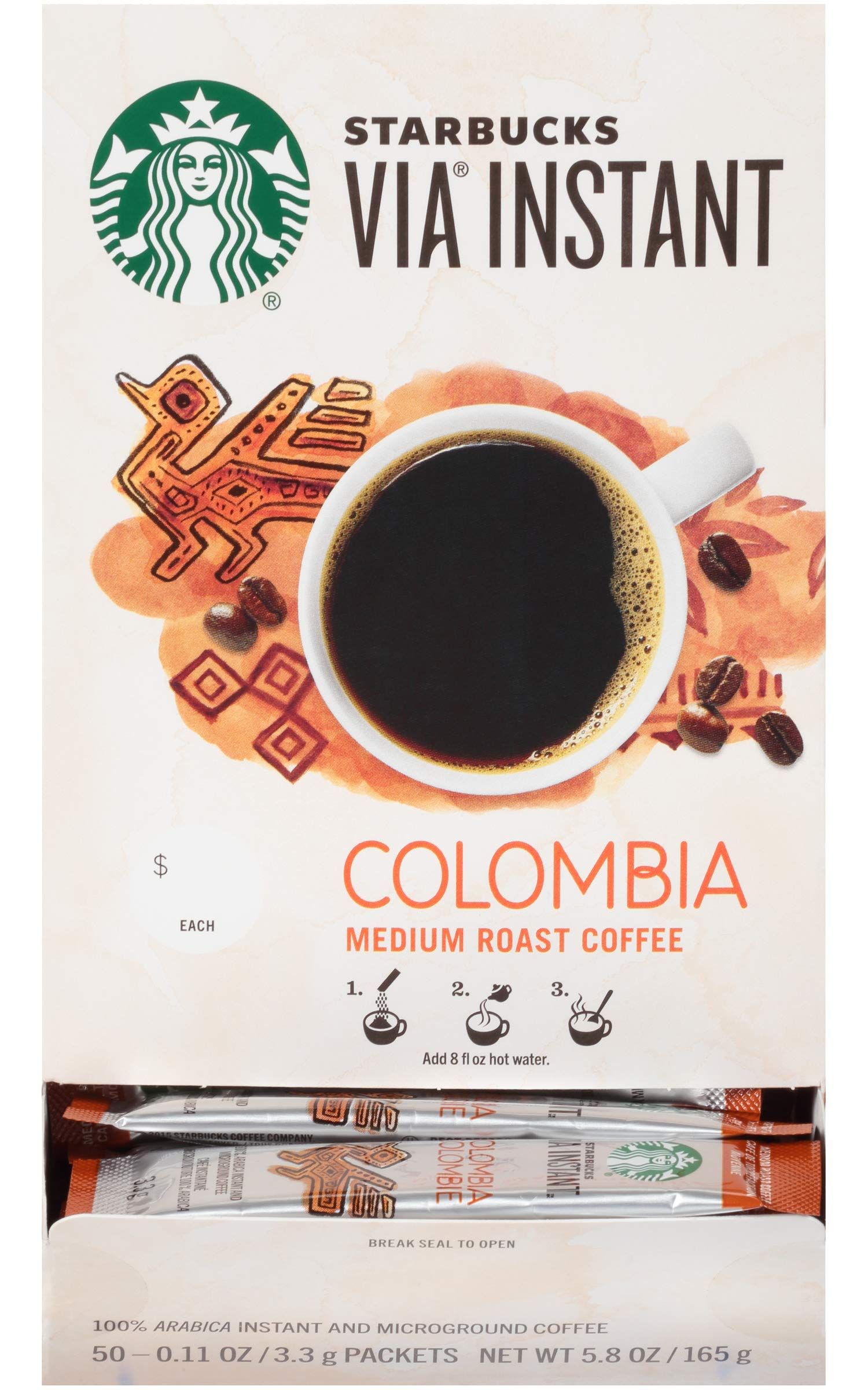 Starbucks Via Instant Colombia Medium Roast Packets Coffee (Pack of 50)