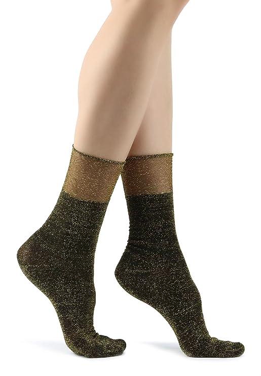 Mixmi Boutique Womens Chic Gold Glitter Socks-CALCETINES BRILLANTES DE MUJER. Calcetines elegantes con brillo dorado para mujer: Amazon.es: Ropa y ...