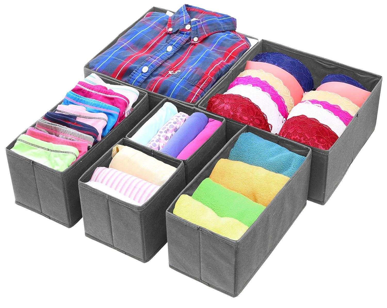 Simple Houseware Foldable Cloth Storage Box Closet Dresser Drawer Divider Organizer Basket Bins for Underwear Bras, Dark Grey (Set of 6)