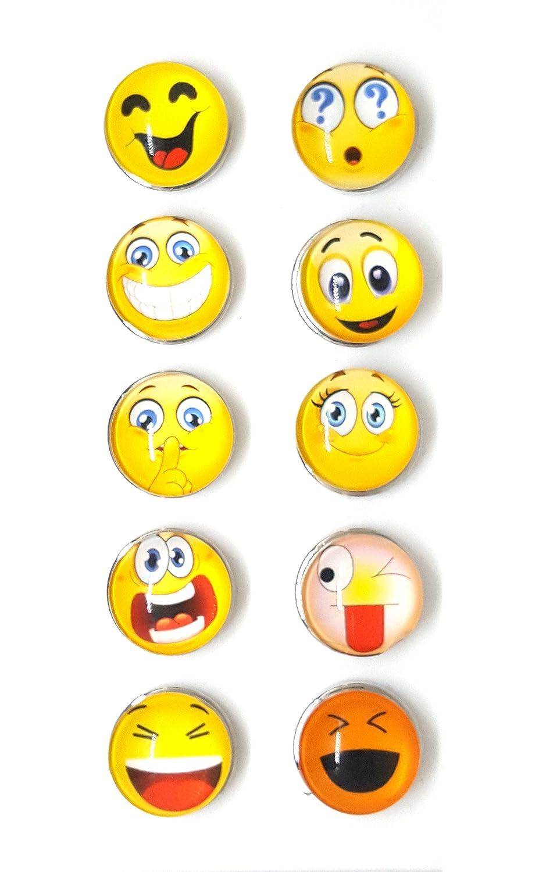 Bijou Bouton à Pression métal - Bijoux interchangeable - motif emoji smiley - 18mm Snaps - Différent coloris - Lot de 10 pcs - Mon-bijou-pression p5-2