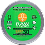 Raw Elements Face and Body Certified Natural Sunscreen | Non Nano Zinc Oxide 95% Organic, Very Water Resistant, Reef Safe, Non GMO, Cruelty Free, SPF 30 Reusable Tin 3oz (Packaging May Vary)