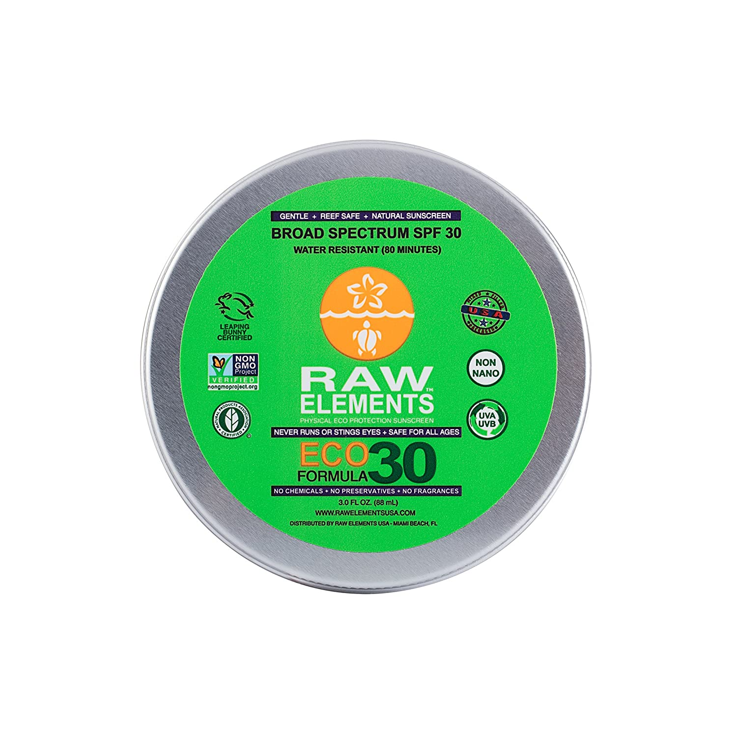 Raw Elements Face and Body Certified Natural Sunscreen | Non Nano Zinc Oxide 95% Organic, Very Water Resistant, Reef Safe, Non GMO, Cruelty Free, SPF 30 Reusable Tin 3oz (Packaging May Vary) RE0030LT