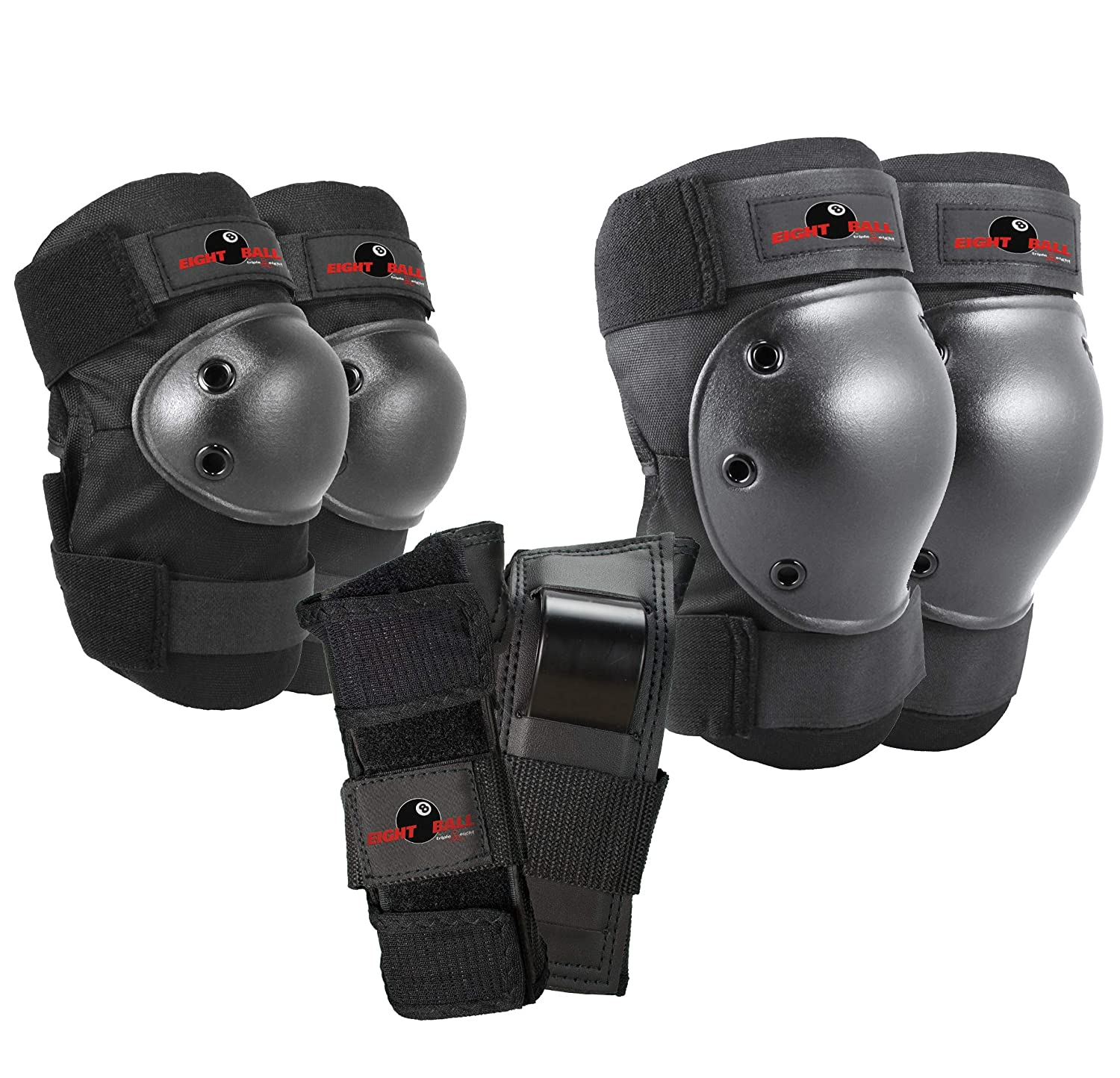 Eight Ball Kids Multi-Sport Pad Set with Wristguards, Elbow Pads, and Knee Pads