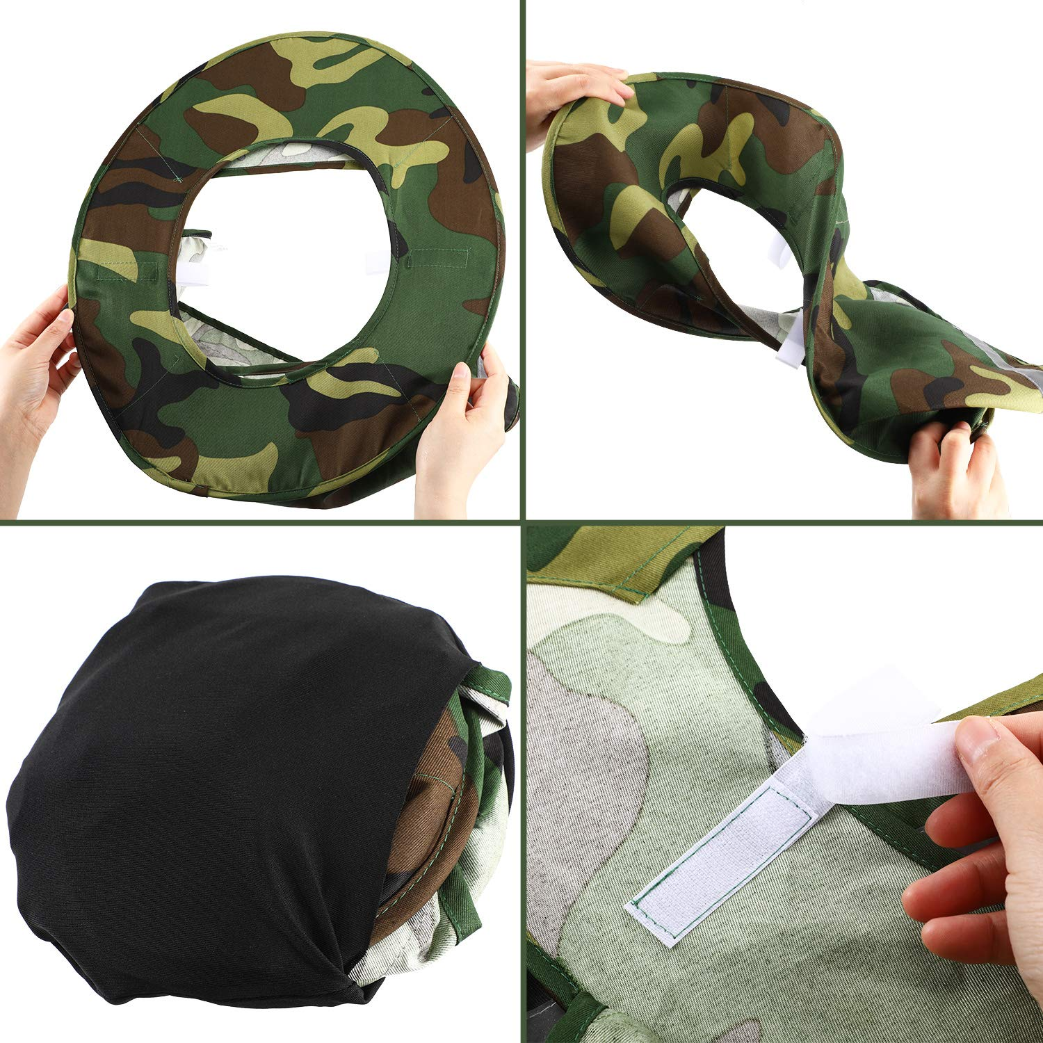 Jovitec 2 Pieces Helmet Sun Shade Hard Hat Sun Neck Shield with Full Brim, Reflective Stripe, Adhesive Hook for Safety Helmet (Camouflage) by Jovitec (Image #4)