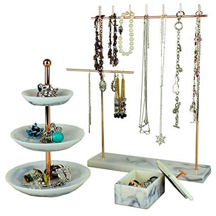 Amazoncom Set of 3 Rose Gold Jewelry Tower Tier Tray Stand 3