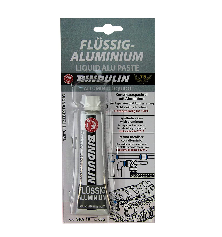 Liquido alluminio 60 G gebrauchsfertige riparazione composto di resina Mastice con Alluminio particolarmente adatto per auto auto Sport acquatici Cerchioni in Alluminio Marine Yacht Modellismo –  Prodotto di marca di Bindulin