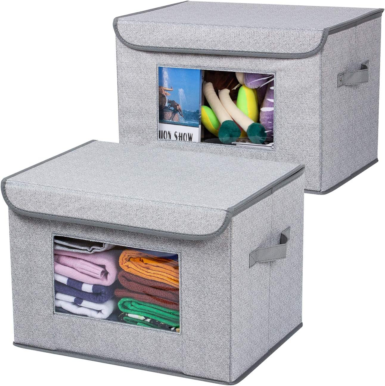 """Univivi Larger Storage Cubes [2-Pack] Foldable Storage Box with Lid, Collapsible Storage Bin Organizer Basket with Sturdy Handles for Home, Nursery, Closet (16.92 x 11.8 x 11.81"""")"""