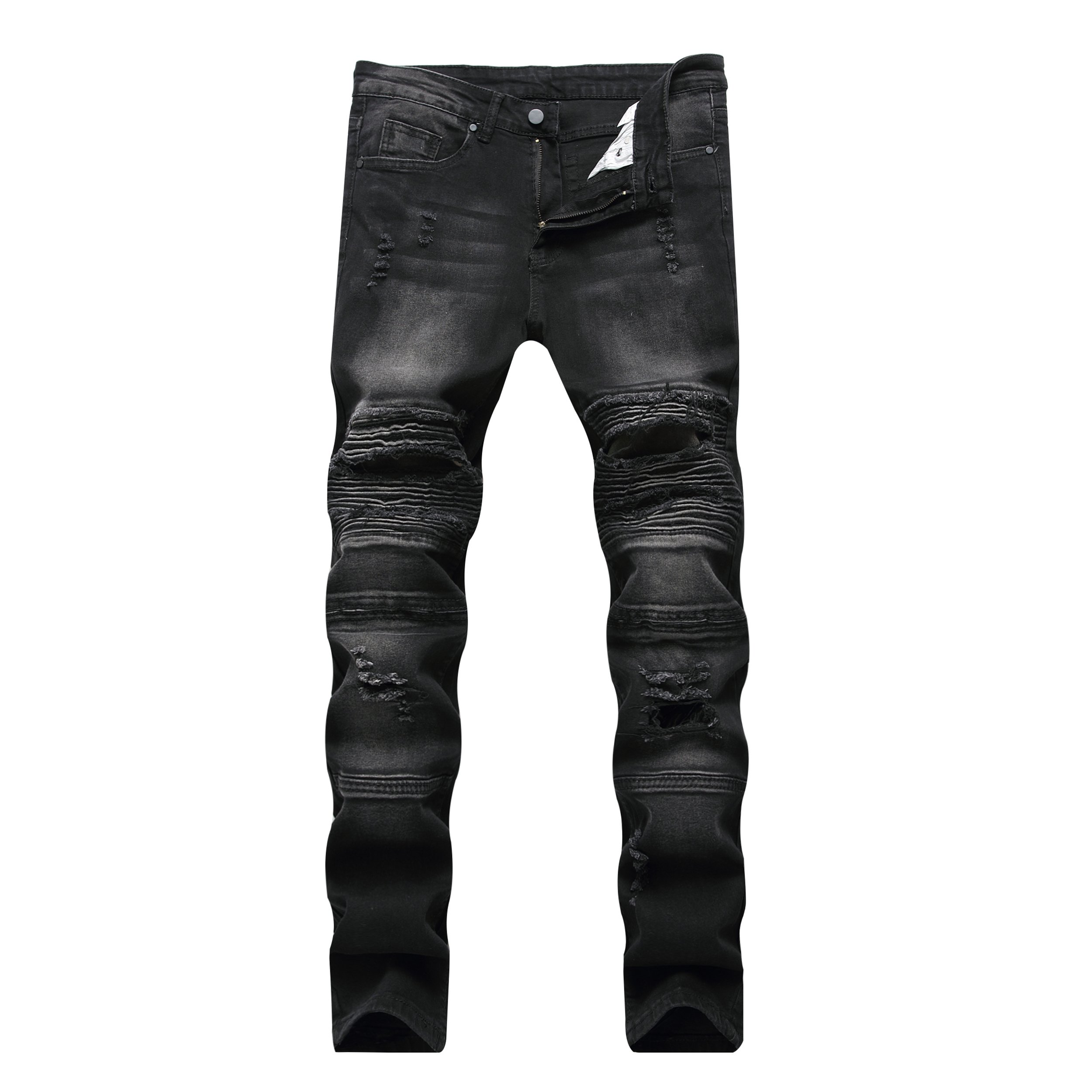 Liuhond Skinny Fashion Men's Ripped Straight Holes Hip Hop Biker Stretchy Jeans (32Wx31L, Black)