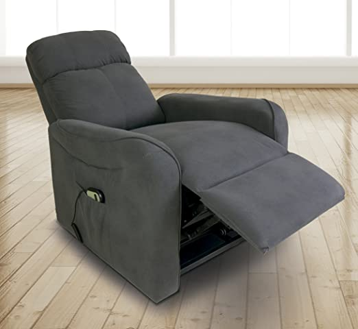 Homesouth - Butaca power lift, sillon relax Carlin tapizado en jarama color Gris Marengo