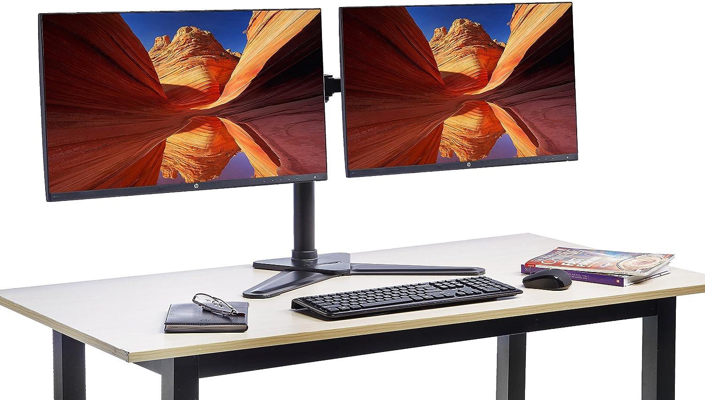 Basics acciaio Supporto autoportante da scrivania per 2 monitor LCD