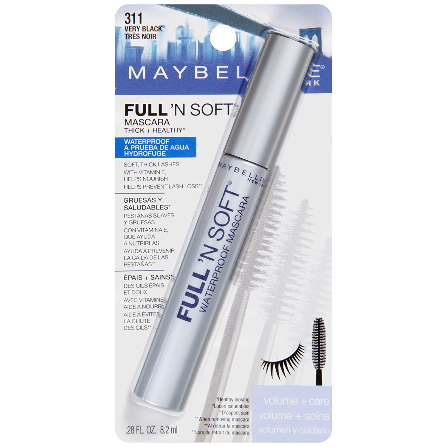 Maybelline Full 'N Soft Waterproof Mascara, Very Black [311], 0.28 oz (Pack of 6)