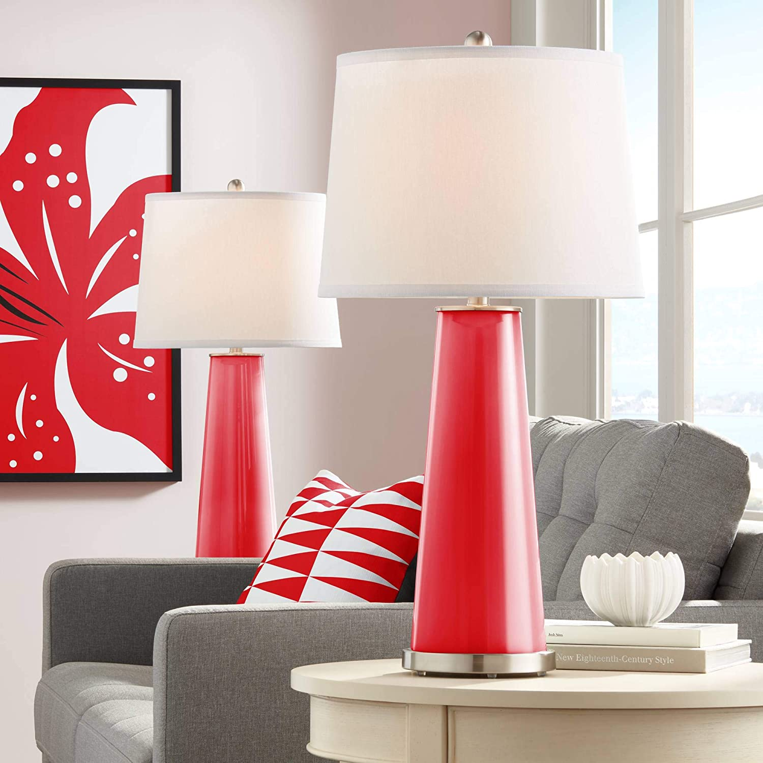 Leo Modern Contemporary Table Lamps Set Of 2 Bright Red Glass Tapered Column Plain White Drum Shade Decor For Living Room Bedroom House Bedside Nightstand Home Office Family Color Plus Amazon Com